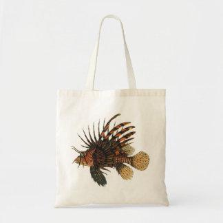 Vintage Lionfish-Fische, Marineozean-Leben-Tier Tragetasche