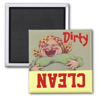 Vintage LOL Dame Clean Dirty Dishwasher des Magnet Quadratischer Magnet