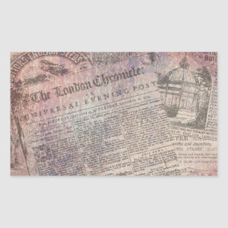 Vintage London-Chronik-Zeitungs-Anzeigen Rechteckiger Aufkleber