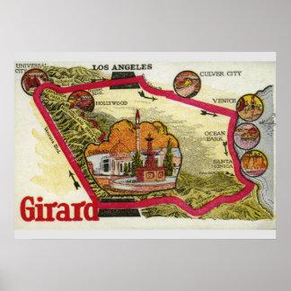 Vintage Los- Angeleskarte Poster