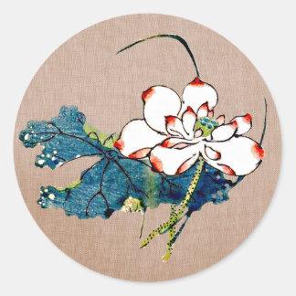 Vintage Lotos-Blume Runder Aufkleber