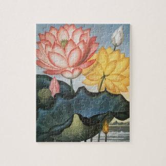 Vintage Lotos-Blumen mit Blätter in einem Teich Puzzle