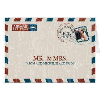 Vintage Luftpost-Hochzeit danken Ihnen Mitteilungskarte