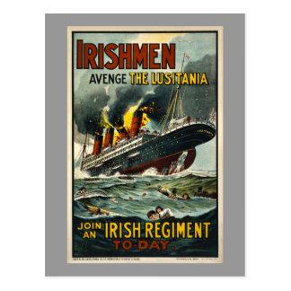 Vintage Lusitania-Iren Avenge! Postkarte