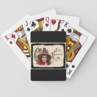 Vintage lustige Halloween-Hexe Pokerkarten