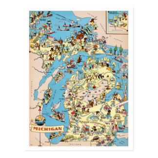 Vintage lustige Karte Michigans