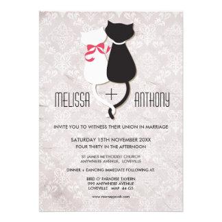 Vintage lustige Katzen-Paar-Damast-Hochzeit laden Personalisierte Einladungen