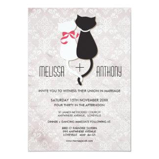 Vintage lustige Katzen-Paar-Damast-Hochzeit laden 12,7 X 17,8 Cm Einladungskarte