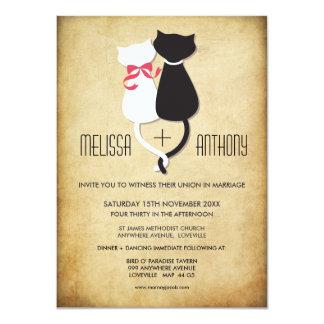 Vintage lustige Katzen-Paar-Hochzeits-Einladung