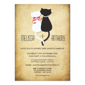 Vintage lustige Katzen-Paar-Hochzeits-Einladung 11,4 X 15,9 Cm Einladungskarte