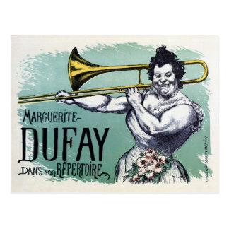 Vintage lustige starke Frau, die den Trombone Postkarte