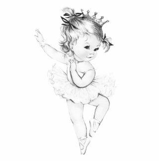 Vintage Mädchen-Dusche Ballerina-Prinzessin-Baby Freistehende Fotoskulptur