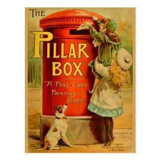Vintage Mädchen-rote Säulen-Kasten-Post-Postkarte Postkarte