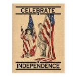 Vintage Mädchen-u. des Jungen-w/American Flagge US Postkarte