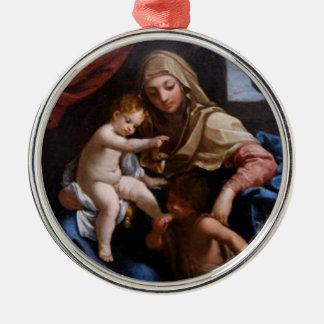 Vintage Madonna Verzierung 3 Rundes Silberfarbenes Ornament