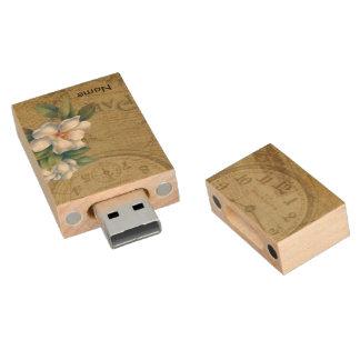 Vintage Magnolien-Blumen Holz USB Stick