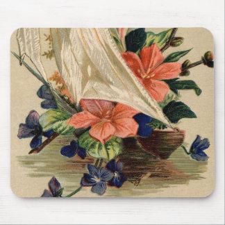 Vintage Malerei - Blumen in einem Segelboot Mauspad