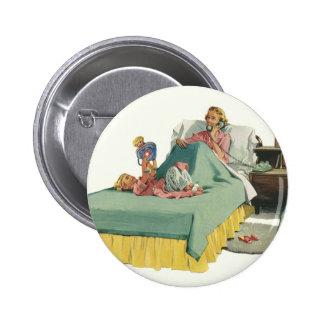 Vintage Mamma gedientes Frühstück im Bett durch Runder Button 5,1 Cm