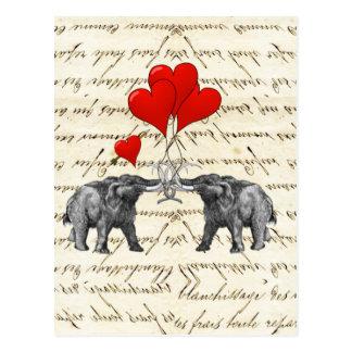 Vintage Mammuts und Herzen Postkarte