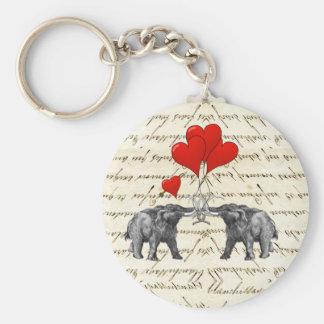 Vintage Mammuts und Herzen Standard Runder Schlüsselanhänger