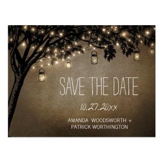 Vintage Maurer-Glas-Eichen-Baum-Save the Date Postkarte