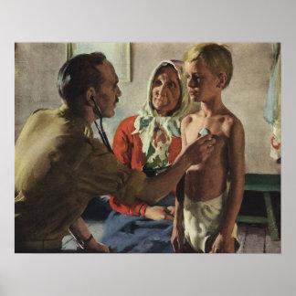 Vintage Medizin, Doktor mit Jungen und Mutter Poster