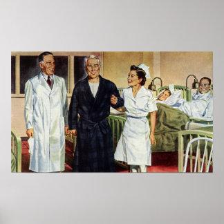 Vintage Medizin, Doktor und Krankenschwester mit Poster