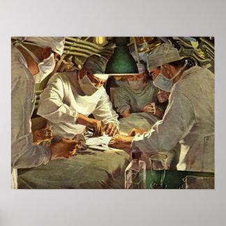 Vintage Medizin, Doktoren Performing Surgery in ER Poster