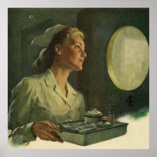 Vintage Medizin, Krankenschwester mit Poster