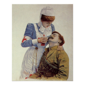 Vintage Medizin, Krankenschwester mit zivilem Poster