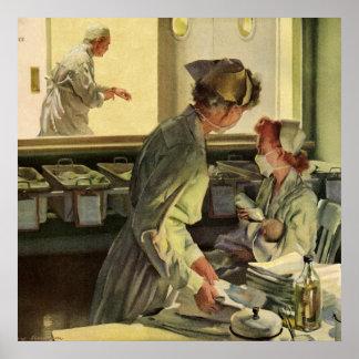 Vintage Medizin, Krankenschwestern mit Poster