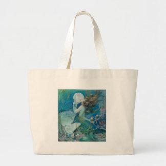 Vintage Meerjungfrau, die Perle hält Jumbo Stoffbeutel