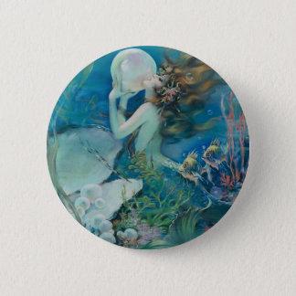 Vintage Meerjungfrau, die Perle hält Runder Button 5,1 Cm