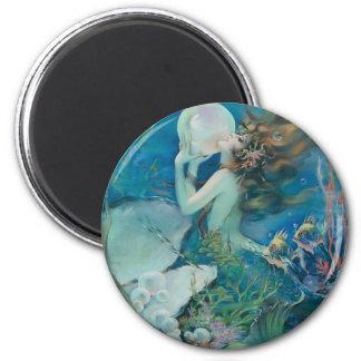Vintage Meerjungfrau, die Perle hält Runder Magnet 5,1 Cm