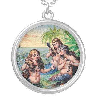 Vintage Meerjungfrau-Halskette Halskette Mit Rundem Anhänger