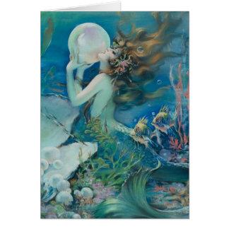 Vintage Meerjungfrau mit Perlen-Anmerkungs-Karte Mitteilungskarte