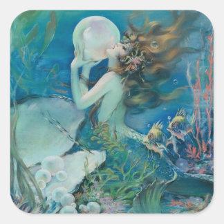 Vintage Meerjungfrau mit Perlen-Aufkleber Quadratischer Aufkleber