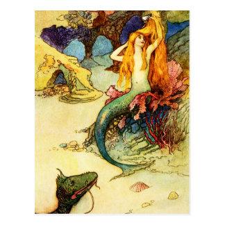 Vintage Meerjungfrau-Postkarte Postkarte