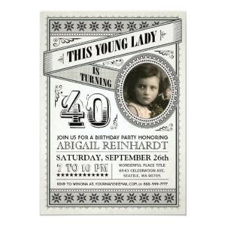 Vintage Meilenstein-Geburtstags-Einladungen Ihr Karte