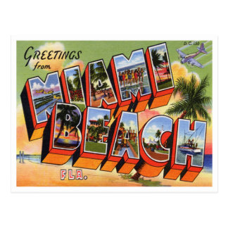Vintage Miami- Beachpostkarte Postkarte