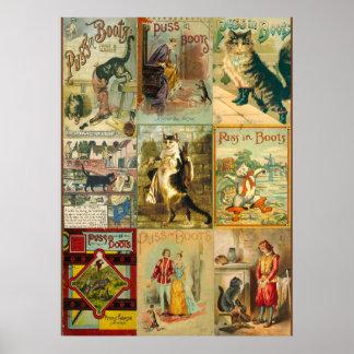 Vintage Mietze im Stiefel-WeihnachtsMontage Poster