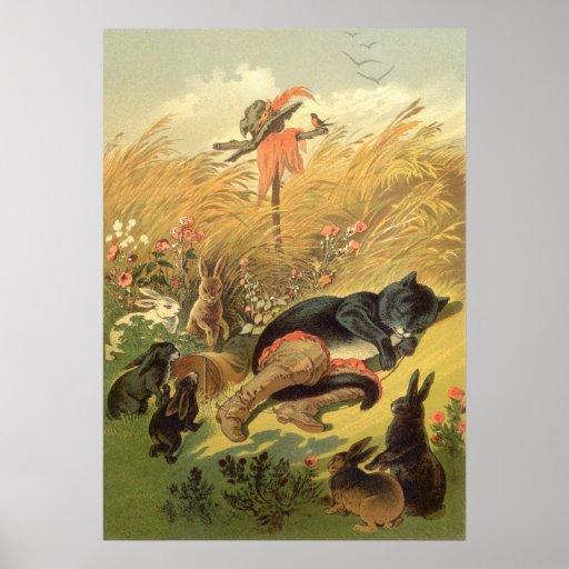 Vintage Mietze in der Stiefel-feenhaften Geschicht Poster