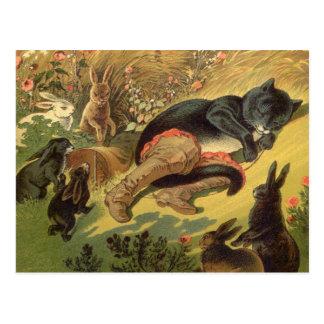 Vintage Mietze in der Stiefel-feenhaften Postkarten