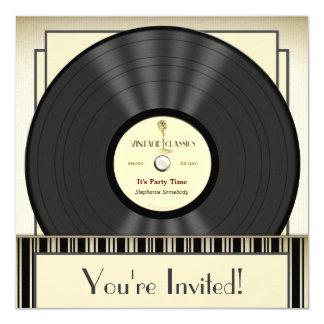 Vintage Mikrofon-Vinylaufzeichnungs-Party Quadratische 13,3 Cm Einladungskarte