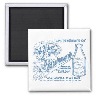 Vintage Milch-Anzeige Quadratischer Magnet