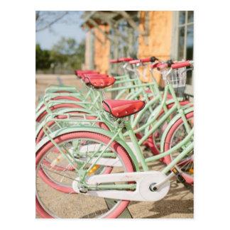 Vintage Minze und rosa Fahrrad Postkarte