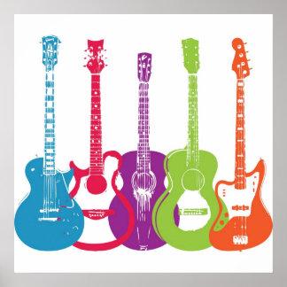 Vintage miserabele Retro Gitarren Posterdrucke