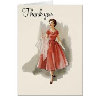 Vintage Mode danken Ihnen zu kardieren Karte