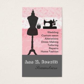 Vintage Mode macht das Girly rosa Blumennähen in Visitenkarte