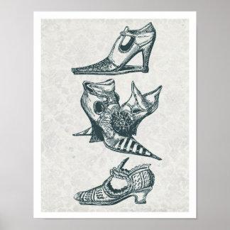 Vintage Mode-Stiefel Poster